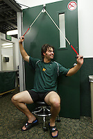 OAKLAND, CA - MAY 4:  Nick Swisher of the Oakland Athletics rehabs in the clubhouse before the game against the Texas Rangers at McAfee Coliseum on May 4, 2005 in Oakland, California. The Rangers defeated the A's 6-1. (Photo by Michael Zagaris /MLB Photos via Getty Images)