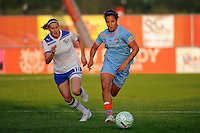 Casey Nogueira (27) of Sky Blue FC is chased by Kelly Smith (10) of the Boston Breakers. Sky Blue FC defeated the Boston Breakers 2-1 during a Women's Professional Soccer (WPS) match at Yurcak Field in Piscataway, NJ, on May 28, 2011.