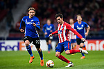 Nicolas Gaitan (R) of Atletico de Madrid battles for the ball with Peter Ankersen of FC Copenhague during the UEFA Europa League 2017-18 Round of 32 (2nd leg) match between Atletico de Madrid and FC Copenhague at Wanda Metropolitano  on February 22 2018 in Madrid, Spain. Photo by Diego Souto / Power Sport Images