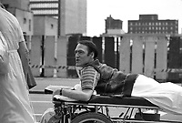 July 17, 1983 file photo - Montreal, Quebec, CANADA - Claude Brunet.<br /> <br /> Claude Brunet, CM was a paraplegic man who campaigned for patients rights in Quebec. He founded the Quebec Provincial Committee of Patients in 1972. In 1979, he sued hospital staff at Saint-Charles-Borromee, Quebec in a class action suit on behalf of fellow patients after a series of illegal work stoppages left fellow patients at the hospital uncared for long periods of time(once for four days). He won his case in January 1981.<br /> <br /> PHOTO :   Agence Quebec Presse