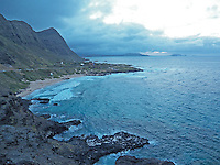 Picturesque coastline of Oahu at dusk...