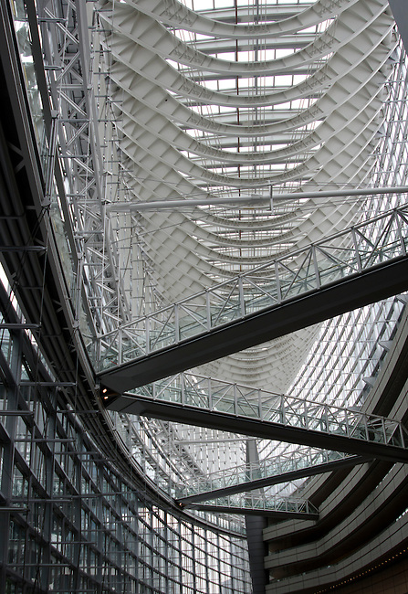 Internal structure of the atrium of the Tokyo International Forum Building in Marunouchi Tokyo.