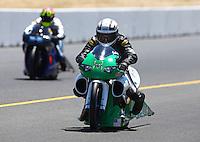 Jul. 27, 2013; Sonoma, CA, USA: NHRA pro stock motorcycle rider John Hall during qualifying for the Sonoma Nationals at Sonoma Raceway. Mandatory Credit: Mark J. Rebilas-