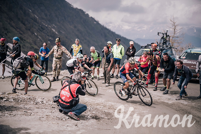 Domenico Pozzovivo (ITA/Bahrain-Merida) up the gravel roads of the Colle delle Finestre <br /> <br /> stage 19: Venaria Reale - Bardonecchia (184km)<br /> 101th Giro d'Italia 2018