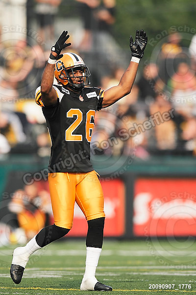 September 7, 2009; Hamilton, ON, CAN; Hamilton Tiger-Cats defensive back Chris Thompson (26). CFL football - the Labour Day Classic - Toronto Argonauts vs. Hamilton Tiger-Cats at Ivor Wynne Stadium. The Tiger-Cats defeated the Argos 34-15. Mandatory Credit: Ron Scheffler.