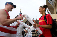 USWNT forward Natasha Kai signs an autograph for a fan following the game. The USWNT defeated Italy, 2-0, at the Suwon Sports Center in Suwon, South Korea.