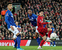 Liverpool's Takumi Minamino goes close with a header<br /> <br /> Photographer Alex Dodd/CameraSport<br /> <br /> Emirates FA Cup Third Round - Liverpool v Everton - Sunday 5th January 2020 - Anfield - Liverpool<br />  <br /> World Copyright © 2020 CameraSport. All rights reserved. 43 Linden Ave. Countesthorpe. Leicester. England. LE8 5PG - Tel: +44 (0) 116 277 4147 - admin@camerasport.com - www.camerasport.com