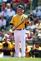 Pittsburgh Pirates outfielder Nate McLouth #2 at bat during a spring training game against the Minnesota Twins at McKechnie Field on March 10, 2012 in Bradenton, Florida.  Minnesota defeated Pittsburgh 4-2.  (Mike Janes/Four Seam Images)