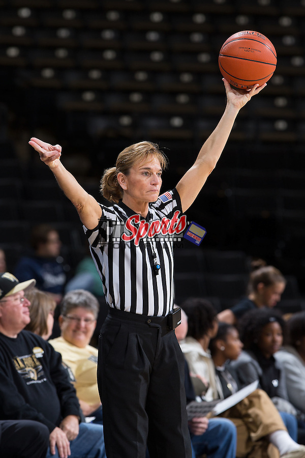 Referee Dee Kantner during the NCAA women's basketball game between the North Carolina Tar Heels and the Wake Forest Demon Deacons at the LJVM Coliseum on January 21, 2016 in Winston-Salem, North Carolina.  The Demon Deacons defeated the Tar Heels 75-63.  (Brian Westerholt/Sports On Film)