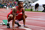 EUGENE, OR - JUNE 8: Kahmari Montgomery of the Houston Cougars prepares for the 400 meter dash during the Division I Men's Outdoor Track & Field Championship held at Hayward Field on June 8, 2018 in Eugene, Oregon. (Photo by Jamie Schwaberow/NCAA Photos via Getty Images)
