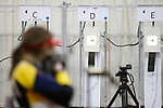 COLUMBUS, OH - MARCH 11:  Morgan Phillips of West Virginia University aims to her target during the Division I Rifle Championships held at The French Field House on the Ohio State University campus on March 11, 2017 in Columbus, Ohio. Phillips finished second in the individual championship with a score of 207.2. (Photo by Jay LaPrete/NCAA Photos via Getty Images)