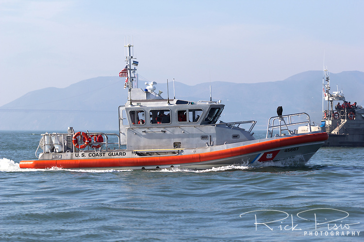 U.S. Coast Guard Response Boat-Medium on San Francisco Bay. The 45 foot, aluminum hull, RB-M is powered by twin diesel engines with waterjet propulsion.