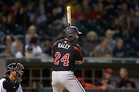 Luke Raley (24) of the Rochester Red Wings at bat against the Charlotte Knights at BB&T BallPark on May 14, 2019 in Charlotte, North Carolina. The Knights defeated the Red Wings 13-7. (Brian Westerholt/Four Seam Images)