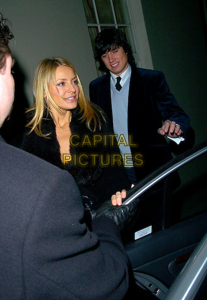 TESS DALY & VERNON KAYE.Sharon Osbourne's Christmas Party, 30 Pavillion Road, London, UK..December 19th, 2006.half length blue jacket Kay coat Daley couple husband wife married fur collar.CAP/CAN.©Can Nguyen/Capital Pictures