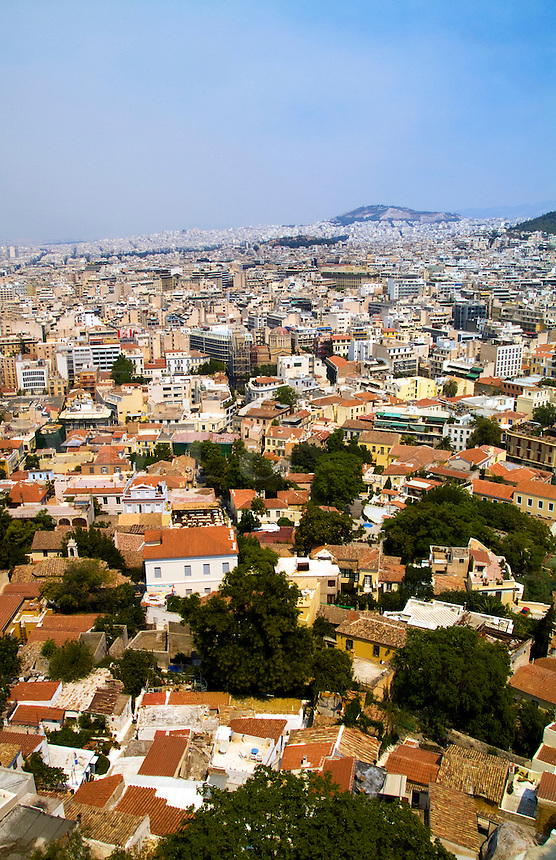 Densely populated city of Athens, Greece