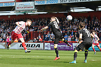 Ben Kennedy of Stevenage heads wide during Stevenage vs Cambridge United, Sky Bet EFL League 2 Football at the Lamex Stadium on 14th April 2018
