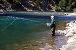 Fly fishing for cutthroat trout on Elk River, British Columbia, Canada<br />
