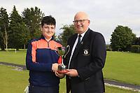 Michael Heeney Connacht Golf presents Lucas Lyons (Limerick) winner of the Connacht U14 Boys Amateur Open, Ballinasloe Golf Club, Ballinasloe, Galway,  Ireland. 10/07/2019<br /> Picture: Golffile | Fran Caffrey<br /> <br /> <br /> All photo usage must carry mandatory copyright credit (© Golffile | Fran Caffrey)
