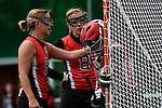 GER - Hannover, Germany, May 30: During the Women Lacrosse Playoffs 2015 match between DHC Hannover (black) and SC Frankfurt 1880 (red) on May 30, 2015 at Deutscher Hockey-Club Hannover e.V. in Hannover, Germany. Final score 23:3. (Photo by Dirk Markgraf / www.265-images.com) *** Local caption *** Jaana Mattwig #9 of SC 1880 Frankfurt, f8+, Celina Aniolek #40 of SC 1880 Frankfurt