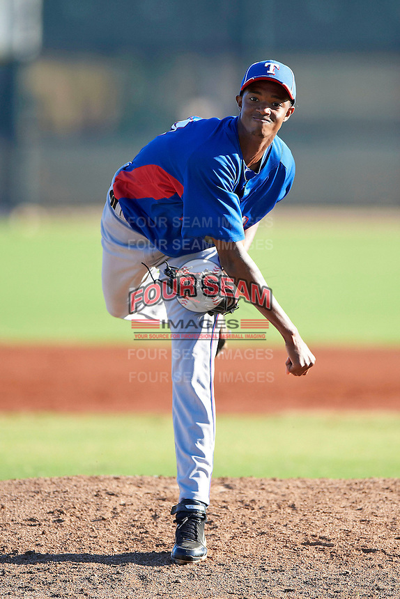 Texas Rangers minor league pitcher C.J. Edwards #44 during an instructional league game against a Korean All-Star team at the Surprise Stadium Complex on October 13, 2012 in Surprise, Arizona.  (Mike Janes/Four Seam Images)