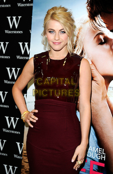 Julianne Hough.An Evening with Nicholas Sparks with stars of 'Safe Haven', Josh Duhamel and Julianne Hough at Waterstones, Piccadilly, London, UK, .February 20th 2013..half length red burgundy shiny long  dress hand on hip sleeveless maroon pvc gold bracelet snake .CAP/PP/GM.©Gary Mitchell/PP/Capital Pictures.
