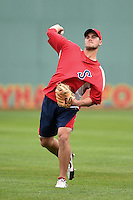 Salem Red Sox pitcher Madison Younginer (41) throws in the outfield before a game against the Lynchburg Hillcats on April 25, 2014 at Lewisgale Field in Salem, Virginia.  Salem defeated Lynchburg 10-0.  (Mike Janes/Four Seam Images)