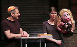 "Jeff Marx, Kerri Brackin and Lucy during the 'Avenue Q"" 13th Anniversary and 3,QQQ Performance with Bar Mitzvah at the New World Stages on January 12, 2017 in New York City."