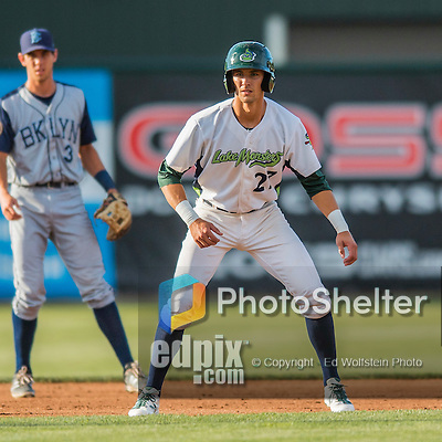 30 July 2016: Vermont Lake Monsters infielder Eli White in action against the Brooklyn Cyclones at Centennial Field in Burlington, Vermont. The Lake Monsters defeated the Cyclones 7-1 in NY Penn League play. Mandatory Credit: Ed Wolfstein Photo *** RAW (NEF) Image File Available ***