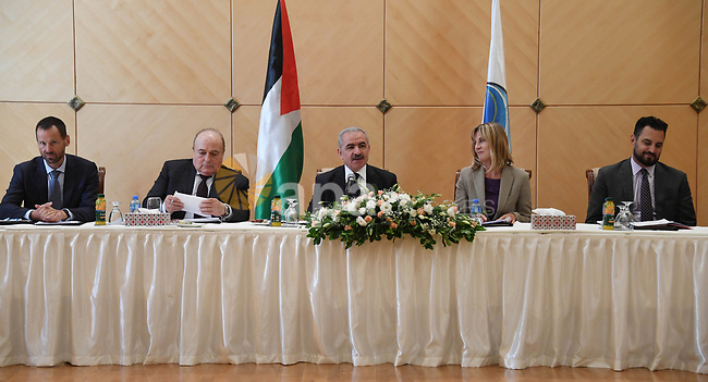 Palestinian Prime Minister Mohammad Ishtayeh, meets with the consuls of representatives of donor countries to Palestine in Palestine in the West Bank city of Bethlehem on September 17, 2019. Photo by Prime Minister Office