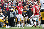 Wisconsin Badgers defensive back Eric Burrell (26) celebrates during an NCAA College Big Ten Conference football game against the Iowa Hawkeyes Saturday, November 11, 2017, in Madison, Wis. The Badgers won 38-14. (Photo by David Stluka)