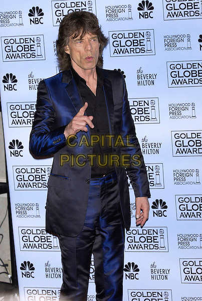 MICK JAGGER.At the 62nd Annual Golden Globe Awards, Beverly Hilton Hotel, Los Angeles, USA, January 16th 2005.                 .half length blue suit finger pointing.Ref: PL.www.capitalpictures.com.sales@capitalpictures.com.©Capital Pictures.