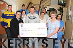 CHEQUE THIS: Members of Kenmare Macra na Feirma, Patrick Looney, Richard Rice, Marian Crimmin and James Cronin, presenting a cheque for ?800 to Margaret O?Sullivan (director of nursing) and staff members at Kenmare Hospital recently.