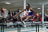 WINSTON-SALEM, NC - FEBRUARY 07: Micah Bernard #4 of Fayetteville State University competes in the Women's 60m Hurdles at JDL Fast Track on February 07, 2020 in Winston-Salem, North Carolina.