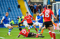Sheffield Wednesday's forward Gary Hooper (14) twists in the Barnsley box during the Sky Bet Championship match between Sheff Wednesday and Barnsley at Hillsborough, Sheffield, England on 28 October 2017. Photo by Stephen Buckley / PRiME Media Images.
