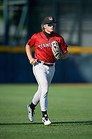 Erie SeaWolves outfielder Cam Gibson (14) jogs to the dugout during an Eastern League game against the Richmond Flying Squirrels on August 28, 2019 at UPMC Park in Erie, Pennsylvania.  Richmond defeated Erie 6-4 in the first game of a doubleheader.  (Mike Janes/Four Seam Images)