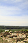 Israel, Shephelah, Haelah fortress at Khirbet Qeiyafa overlooking Haelah valley, remains of the city wall