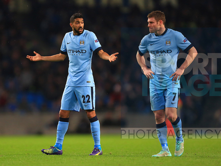 Gael Clichy and James Milner of Manchester City look dejected - Manchester City vs. Bayern Munich - UEFA Champion's League - Etihad Stadium - Manchester - 25/11/2014 Pic Philip Oldham/Sportimage