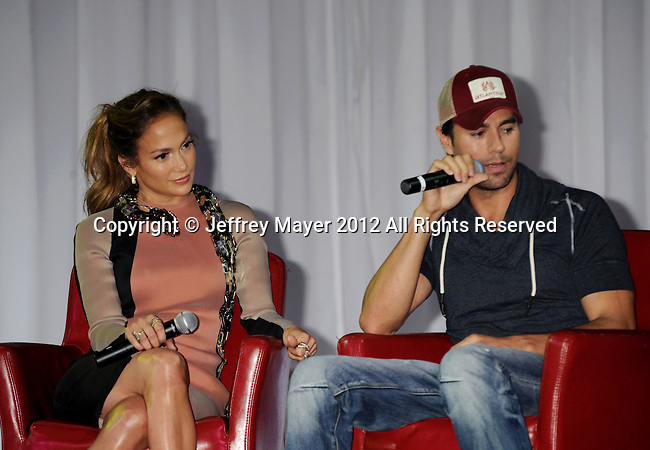 HOLLYWOOD, CA - APRIL 30: Jennifer Lopez and Enrique Iglesias announce their Summer Tour with Wisin Y Yandel at Boulevard3 on April 30, 2012 in Hollywood, California.