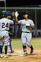 AZL Indians 2 catcher Noah Naylor (12) is congratulated by Brayan Rocchio (24) after hitting his first professional home run during an Arizona League game against the AZL Cubs 2 at Sloan Park on August 2, 2018 in Mesa, Arizona. The AZL Indians 2 defeated the AZL Cubs 2 by a score of 9-8. (Zachary Lucy/Four Seam Images)
