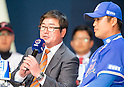 Ryu Joong-il and Park Han-Yi, Mar 28, 2016 : South Korean baseball team Samsung Lions' manager Ryu Joong-il (C) and  outfielder Park Han-Yi (R) attend a media day and fanfest of 10 clubs in the Korea Baseball Organization (KBO) in Seoul, South Korea. (Photo by Lee Jae-Won/AFLO) (SOUTH KOREA)