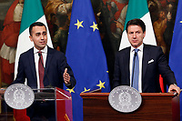 Luigi Di Maio and Giuseppe Conte <br /> Rome January 17th 2019. Press conference of  the Italian premier and of the two vice premiers just after the Minister cabinet approved the reform of job (citizenship income) and board.<br /> Foto Samantha Zucchi Insidefoto