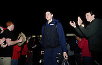 Feb 28, 2015; Spokane, WA, USA; Gonzaga Bulldogs forward Kyle Wiltjer walks through the crowd after returning home from a game against the Duke Blue Devils at the McCarthey Athletic Center. Mandatory Credit: James Snook-USA TODAY Sports