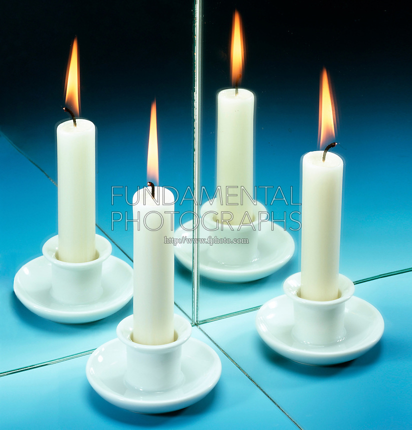TWO MIRRORS CREATE 3 REFLECTIONS<br /> Candle<br /> When two mirrors are mounted at right angles, two virtual images are formed as well as an extra image produced by double reflection of the light entering the eye.