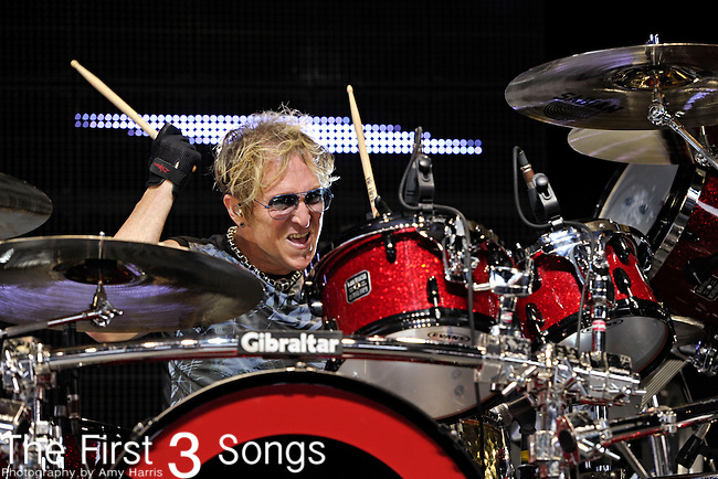 Mark Schulman of Foreigner performs at Riverbend Music Center in Cincinnati, Ohio on August 3, 2011.