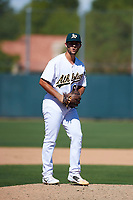 Oakland Athletics pitcher Logan Salow (65) prepares to deliver a pitch to the plate during an Instructional League game against the Cincinnati Reds on September 29, 2017 at Lew Wolff Training Complex in Mesa, Arizona. (Zachary Lucy/Four Seam Images)