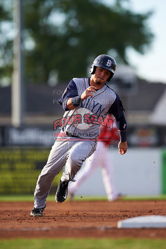 Brooklyn Cyclones right fielder Arnaldo Berrios (9) running the bases during a game against the Batavia Muckdogs on July 4, 2016 at Dwyer Stadium in Batavia, New York.  Brooklyn defeated Batavia 5-1.  (Mike Janes/Four Seam Images)