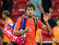 The Hague, The Netherlands, September 15, 2017,  Sportcampus , Davis Cup Netherlands - Chech Republic, Seccond Rubber: Robin Haase (NED) is frustrated after loosing<br /> Photo: Tennisimages/Henk Koster