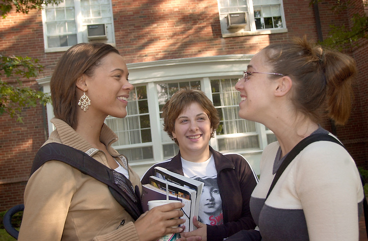16643Campus shots, Students: Fall..Left to right: Carrie Thomas, Alaina Liller, and Rebecca Fath talk in front of Lincoln Hall on 9/30/04