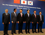 May 5, 2017, Yokohama, Japan -  (L-R) Bank of Japan Governor Haruhiko Kuroda, Japanese Finance Minister Taro Aso, South Korean Finance Minister Yoo Il-ho, Bank of Korea Governor Lee Juyeol, Chinese Vice Finance Minister Shi Yaobin and unidetified Chinese official pose for photo before starting the trilateral finance ministers and central bank governor's meering during the Asian Development Bank (ADB) annual meeting in Yokohama, suburban Tokyo on Friday, May 5, 2017. ADB started a four-day session for its annual meeting to celebrate the 50th anniversary of the ADB.   (Photo by Yoshio Tsunoda/AFLO) LwX -ytd-