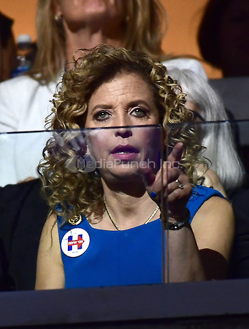 Debbie Wasserman Schultz attends the fourth session of the 2016 Democratic National Convention at the Wells Fargo Center in Philadelphia, Pennsylvania on Thursday, July 28, 2016.<br /> Credit: Ron Sachs / CNP/MediaPunch<br /> (RESTRICTION: NO New York or New Jersey Newspapers or newspapers within a 75 mile radius of New York City)